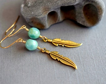 Bohemian Feather Earrings Turquoise Earrings Blue Green Drops Czech Opal Earrings Long Gold Earrings Boho Mountain Bird Outdoor Gift Gold