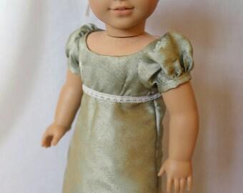 A Green Jane Austen Regency Ballgown for 18-Inch Dolls