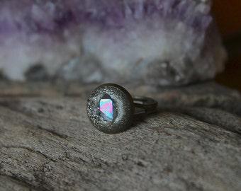 Angel Aura Quartz Ring - Rainbow Crystal Ring - Wiccan Jewelry - Crushed Pyrite - Bohemian Gypsy Festival Fashion - Opal Aura Quartz Jewelry