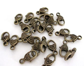 Brass Lobster Clasp - Heart Shaped Lobster Clasp -17mmx9mm - DIY Metal Jewelry Findings - Brass Bronze Lock Clasp (7) Pcs - Bulk Supplies