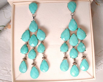 SIMAN TU Haute Couture Turquoise Chandelier Earrings, Natural Gemstone Silver Bridal Earrings, Statement Dangle Rustic Country Wedding