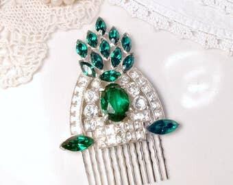 Antique Art Deco Emerald Green Bridal Hair Comb, 1930s Rhinestone Vintage Wedding Silver Dress Clip Hairpiece Great Gatsby Wedding Headpiece