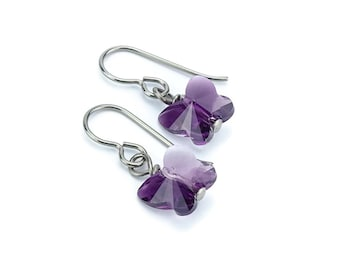 Titanium Earrings Amethyst Butterfly Crystal, Amethyst Blend Swarovski Crystal Butterfly Sensitive Ears Earrings for Girls, Niobium Earrings