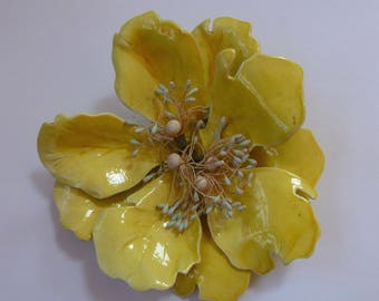 Vintage Paper Mache Yellow Enamel Painted Flower Pin As Is