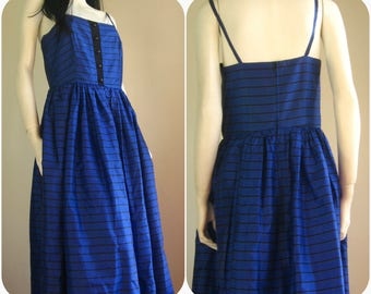 black and blue party gown,80s vintage