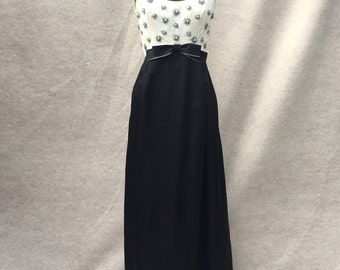 Vintage 60's Maxi Dress, Formal Gown, Black and White Beaded Long Party Dress, Size XS to Small,  Waist 26