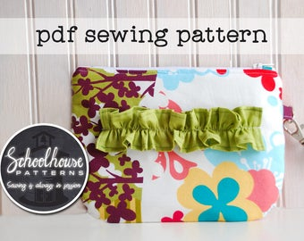Ruffled Wristlet sewing pattern - wallet - clutch - pouch - detachable strap - PDF INSTANT DOWNLOAD