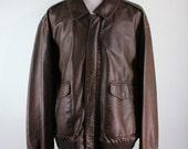 Leather Bomber Jacket / Mens Leather Jacket / Brown Leather Jacket / Vintage / Size 2XL / GOGOVINTAGE