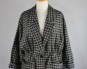 FREE SHIPPING 80s Women's Black Gray New Wave Wool Jacket Blazer, Kimono, New Romantic, Minimal, Office, Rare Jacket, Bonwit Teller, Large