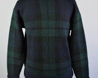 Mens Sweater. Wool Sweater. Pullover Sweater. Navy Blue Green Sweater. Fall Winter Sweater. Vintage. Size Medium. GOGOVINTAGE. FREE SHIPPING