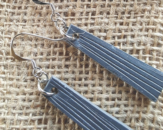 Grey Lightweight Leather Earring Set Silver Shepherd Hooks Ladies Hand Dyed Earring Set Leather Jewelry w/ Burlap Storage Bag-Perfect Gift