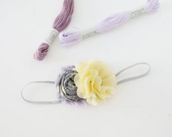 Fizz yellow grey lavender rosette and chiffon flower headband  bow