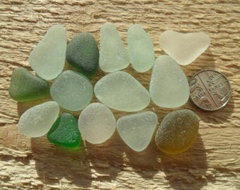 14 Pendants  - Beautiful English Seaham Sea Glass- Free Shipping (5217)