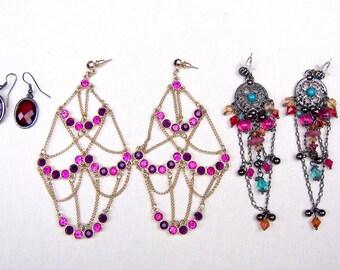 3 pair dangles post fitting earrings dangle drop earrings ethnic jewelry tribal fusion belly dance (AAD)