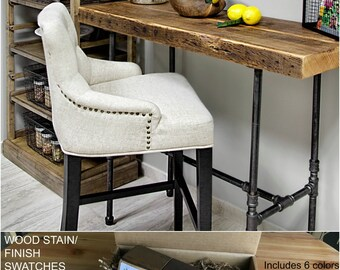 """Harvest Wood Loft Desk with 2"""" thick top and pipe leg base, Reclaimed Wood Desk.  Buy a Finish/stain sample kit here to see them in person"""