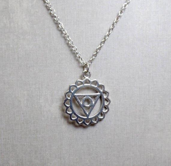 Silver Plated Throat Chakra Necklace - Chakra Charm Necklace - Throat Chakra Pendant