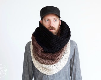 The Ombré Cowl | COCOA | Mens Chunky Knit Ombré Oversized Huge Textured Winter Cowl Scarf