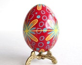Red Christmas Ornament egg Pysanka batik egg on chicken  shell Ukrainian Easter ornamtn hand painted