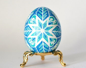 Pysanka egg Ornament in Blue on Chicken egg awesome gift for mom dad sister brother wife coworkers unique  little statute for any room