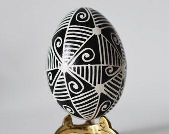 Black and White Pysanka egg stylish Easter decor and gift ideas