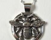 Bee Necklace, Realistic Insect, Gift for Women, Unique, Handmade, Silver, Nature Lover, Empowerment, Detailed