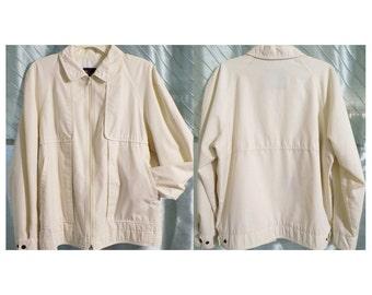 1980s London Fog Harrington Jacket, Tan Mens 42 Medium Large, Lightweight, Flap Look on Front