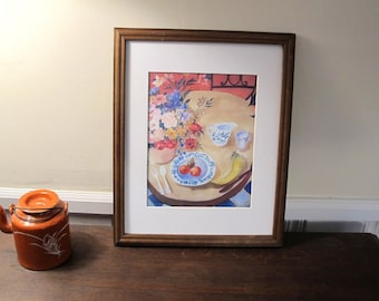 Print of Table Set For One Silk Painting With Mat to Fit  11 x 14 in Frame Opening