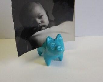 Pig Card holder Cast iron turquoise blue miniature photo recipe Business cards little piggy