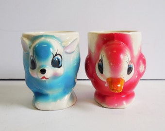 Two vintage egg cups Deer and Duck blue and red pink Whimsical children's cup figural