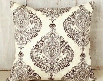 Charcoal Damask Pillow Cover - Black Gray Ivory Throw Pillow - French Cottage Chic - Traditional