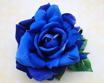 Pin up intense royal blue velvet rose with buds hair flower vintage rockabilly style top quality 40s 50s wedding bride