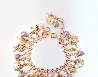 Purple, White and Gold Charm Bracelet, garden theme