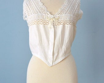Edwardian Era Camisole... White Cotton Camisole Corset Cover