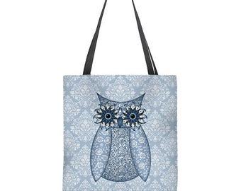 Owl Tote Bag in blue, bohemian tote bag