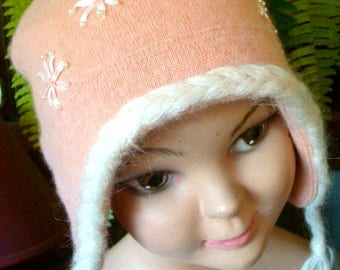 childs winter hat aviator hat peach