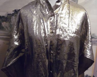 1980s Gold Lame High Low Hem Button Up Blouse by Sam and Max sz M Made in the USA Shirt