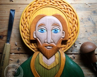 Hand Carved St. Patrick Celtic Icon