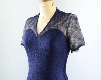 Vintage 1940's Navy Blue Silk Lace Party Dress