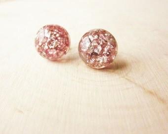 Handmade Pink Earrings Pink Glitter Earrings Pink Post Earrings Pink Silver Earrings Pink Stud Earrings Pink Silver Glitter Earrings