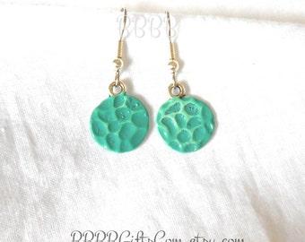 Blue Green Coin Drops Earrings