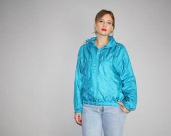1990s Vintage Adidas Trefoil Blue Windbreaker Jacket  - Vintage Adidas Jacket  - Vintage Adidas Trefoil Festival Jacket  - W00085