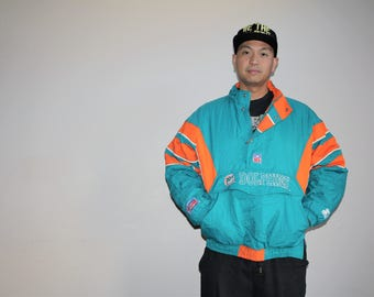 VTG 1990s Miami Dolphins NFL Football Starter Athletics Winter Parka Jacket Coat - Starter Jackets - 90s Clothing - MV0010