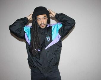 1990s Hip Hop Rap Purple and Blue Asics Neon Colorblock Windbreaker - 90s Clothing - MV0082