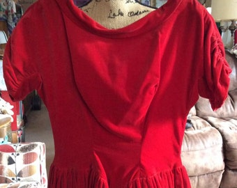 Vintage 1950s Dress Deep True Red Velvet Bows In Back Appears Home Made