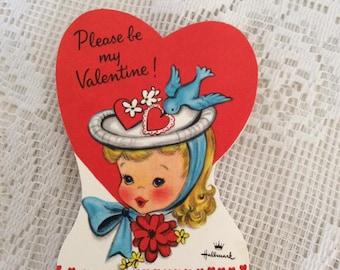 Vintage 1950s Valentine Card Little Girl Wearing A Hat With A Bluebird Hallmark Brand Collectible Paper Ephemera Arts Crafts Scrap Booking