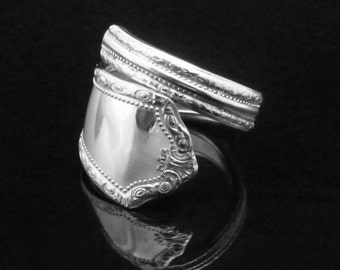 Decorative Victorian Spoon Ring, Gem, Scrollwork Design