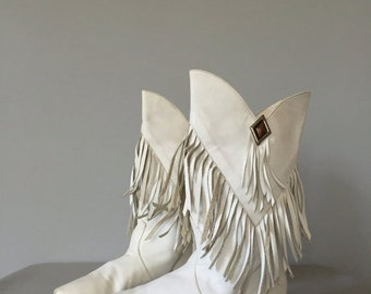 30% OFF WINTER SALE... J.G Simone New York fringed boots   1980s slouch leather boots   7.5