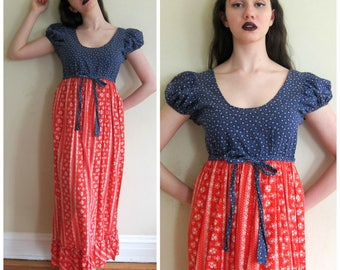 Vintage 1970s Prairie Style Red White Blue Print Maxi Dress / 70s Empire Waist Floral Calico Dress  / Small