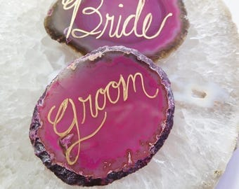 AGATE Slice BRIDE + GROOM Place Setting Escort Cards Fuchsia Pink Crystal Geode Stone Slab Decor Coaster Drink Rest Choose Edge Wedding Gift