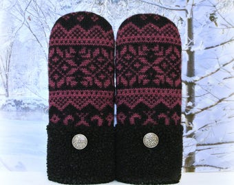 Plum Purple & Black Nordic Wool Fair Isle Women's Upcycled Sweater Mittens